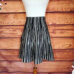 Carmen Marc Valvo Black and Gray Sweater Skirt